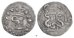 Ancient Coins - LYDIA, TRALLEIS. AR Cistophoric Tetradrachm. Ptol-, magistrate, 130 BC. Cista Mystica / Serpents