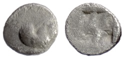 Ancient Coins - THRACO-MACEDONIAN REGION, Uncertain. AR obol, early to mid 5th century BC. Pegasos / incuse