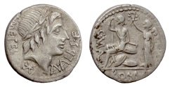Ancient Coins - Roman Republic. AR denarius, Rome mint, 96 BC. Apollo / Roma crowned by Victory