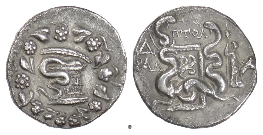 Ancient Coins - LYDIA, TRALLEIS. AR Cistophoric Tetradrachm. Ptol-, magistrate, 130 BC. Cista Mystica / Serpents