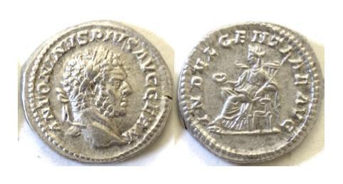 Ancient Coins - CARACALLA, AD 198-217. AR denarius. Rome mint. Struck AD 215