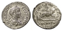 Ancient Coins - CARACALLA. AR denarius, Rome mint, struck 203/4 AD. Dea Celestis on lion