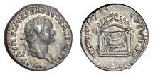 Ancient Coins - Titus. AR denarius, Rome mint, struck Jan-Jun 80 AD. Throne of Jupiter