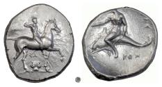 Ancient Coins - CALABRIA, Tarentum.  AR Nomos, circa 302 BC