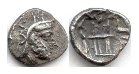 Ancient Coins - PERSIS, Unknown King I. AR obol, late 2nd c. BCE