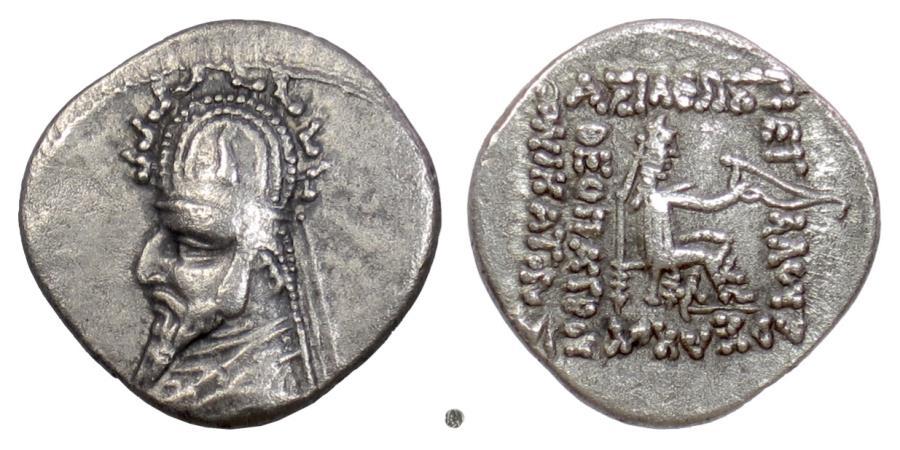 Ancient Coins - PARTHIA,  Sinatrukes. AR Drachm, Rhagae mint, circa 93-69 BC