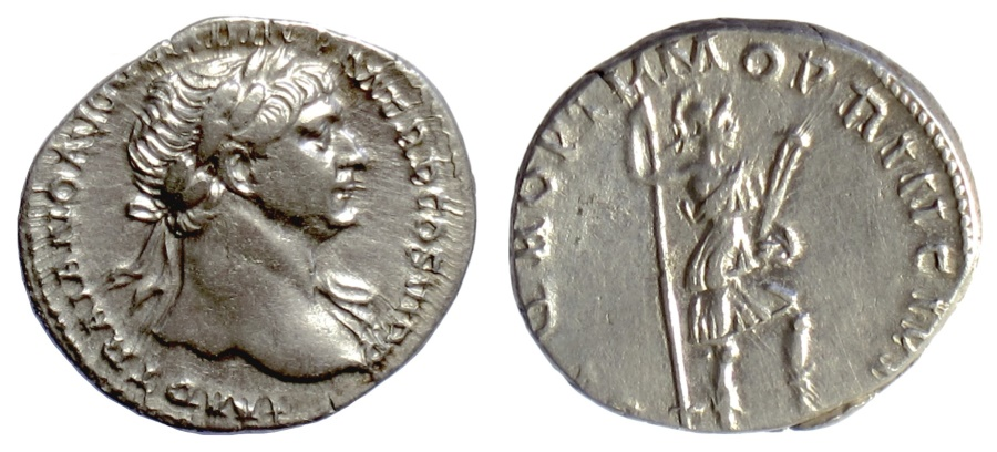 Ancient Coins - TRAJAN. AR denarius, Rome mint. Struck circa AD 104-107