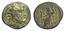 Ancient Coins - SYRIA, Seleucis and Pieria, Antioch. AE denomination B, circa 63-48 BC. Zeus / Seated Zeus