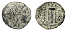 Ancient Coins - SELEUKID KINGS, Antiochos II Theos. AE denomination B/C, Sardeis mint, 261-246 BC. Apollo / tripod