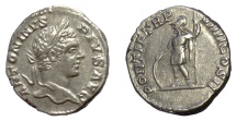 Ancient Coins - CARACALLA. AR denarius. Rome mint, struck 206 AD. Mars