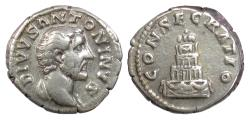 Ancient Coins - Divus Antoninus Pius. AR Denarius, Rome mint, under Marcus Aurelius, 161 AD. Funeral pyre