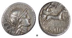 Ancient Coins - Roman Republic, L. Rutilius Flaccus. AR Denarius, Rome mint, 77 BC. Roma / Victory driving biga