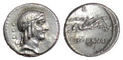 Ancient Coins - Roman Republic, L. Calpurnius Piso Frugi. AR denarius, Rome mint, 90 BC. Apollo / Horseman
