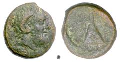 Ancient Coins - KYRENAICA, Kyrene. First Revolt of the Kyrenaikans, circa 313-312 BC. Zeus / Tomb of Battos. VERY RARE