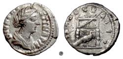 Ancient Coins - DIVA FAUSTINA Jr.  AR Denarius, Rome mint, struck 176 AD and later.  Throne & Peacock