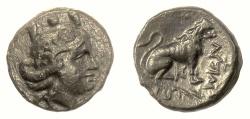 Ancient Coins - THRACE, Lysimacheia. AE 18, circa 309-220 BC. Tyche / Lion. Scarce