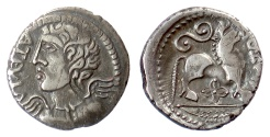 Ancient Coins - CELTIC, Northeast Gaul. Remi. AR Quinarius, circa 50-30 BC. Winged bust / bull