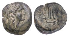 Ancient Coins - SELEUKID KINGS, Antiochos II. AE denom B, Antioch mint, 261-246 BC. Apollo / Tripod