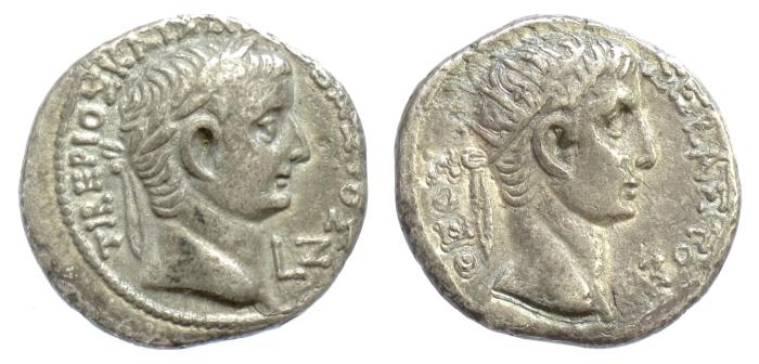 Ancient Coins - ROMAN EGYPT/Alexandria. Tiberius, with Divus Augustus. BI Tetradrachm. Dated RY 7 (AD 20/1)