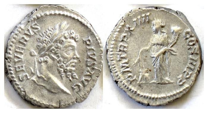 Ancient Coins - SEPTIMIUS SEVERUS.  AR denarius. Rome mint. Struck AD 205