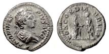 Ancient Coins - CARACALLA. AR denarius, Rome, 202 AD. Marriage scene of Caracalla and Plautilla