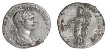 Ancient Coins - Trajan. Foureé denarius, imitating Rome mint struck circa 107 AD. Aequitas