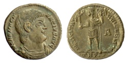 Ancient Coins - MAGNENTIUS. BI maiorina, Treveri mint, 350-351 AD. Magnentius holding Victory