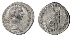 Ancient Coins - TRAJAN. AR denarius, Rome mint. Struck circa AD 116-117. Fortuna
