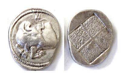 Ancient Coins - MACEDON, Akanthos. AR Tetrobol, circa 470-390 BC