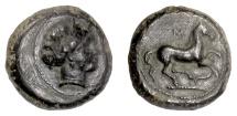 Ancient Coins - SICILY, Aitna. AE Tetras, 355-339 BC. Persephone / Prancing Horse
