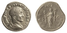 Ancient Coins - Maximinus I. AE sestertius. Rome mint, AD 236. Fides holding military standards