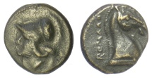 Ancient Coins - Roman Republic, Anonymous. AE litra. Rome mint, circa 260 BC. Minerva / horse head