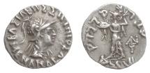 Ancient Coins - BAKTRIA/Indo-Greek, Menander I Soter. AR drachm, circa 155-130 BC
