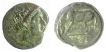 Ancient Coins - THESSALY, Larissa. AE dichalkon, Circa 380-337 BC.