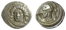 Ancient Coins - CILICIA, Tarsos. Pharnabazos. AR Stater, struck circa 380-379 BC. Arethusa / Helmeted head, countermark of man-headed bull