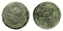 Ancient Coins - Roman Republic, AE Uncia, Anonymous. Rome, c. 217-215 BC. Roma / Prow of galley