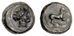 Ancient Coins - SICILY, Aitna. AE Tetras, 355-339 BC. Persephone / Prancing Horse