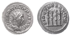 Ancient Coins - PHILIP I. AR Antoninianus, Rome mint. Struck AD 247-249. Four military standards
