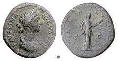 Ancient Coins - FAUSTINA Jr.  AE Sestertius, Rome mint, 161-175 AD.  Diana