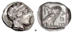 Ancient Coins - Attica, ATHENS.  AR Tetradrachm, circa 454 - 404 BC.  Athena / Owl