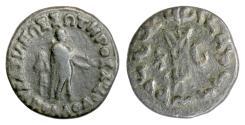 Ancient Coins - Indo-Greek, Apollodotos II. AE Octuple Unit, circa 85-65 BC. Apollo/ tripod. Scarce