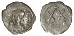 Ancient Coins - Tiberius II Constantine. AE Half Follis. Constantinople mint, 5th officina