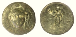 Ancient Coins - SELEUKID KINGS of SYRIA, Antiochos I Soter. AE denomination B, Smyrna (or Sardes) mint. Athena / Nike.  Anchor countermark