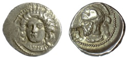 Ancient Coins - CILICIA, Tarsos. Pharnabazos. AR Stater, struck circa 380-379 BC. Arethusa / Helmeted head, countermark of man-headed bull