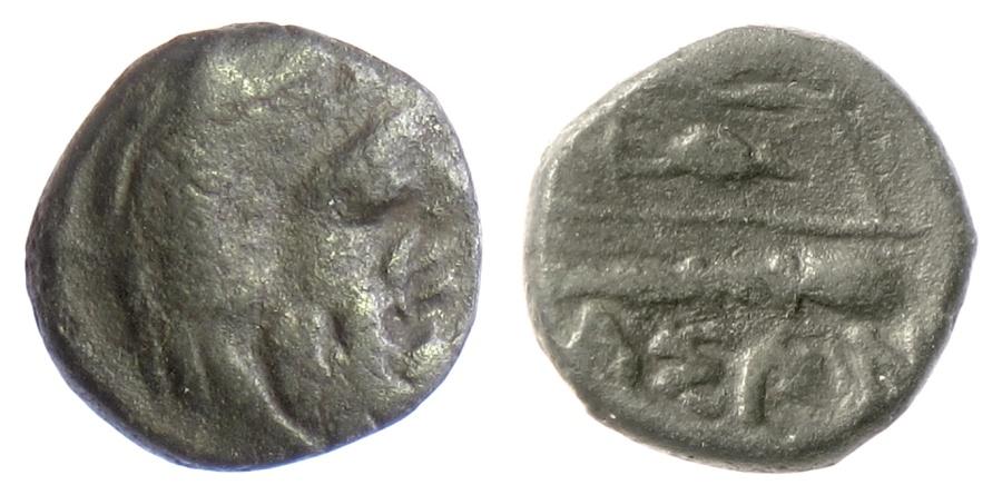 Ancient Coins - ISLANDS off THRACE, Thasos. AE 14, circa 340-300 BC. Herakles / bow. SCARCE