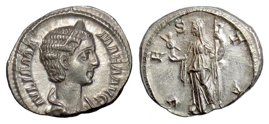 Ancient Coins - Julia Mamaea. Augusta. AR Denarius, Rome mint, 222-235 AD. Vesta