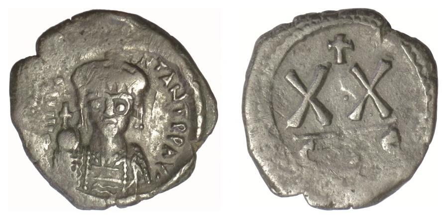 Ancient Coins - Tiberius II Constantine. AE Half Follis. Constantinople mint, 5th officina