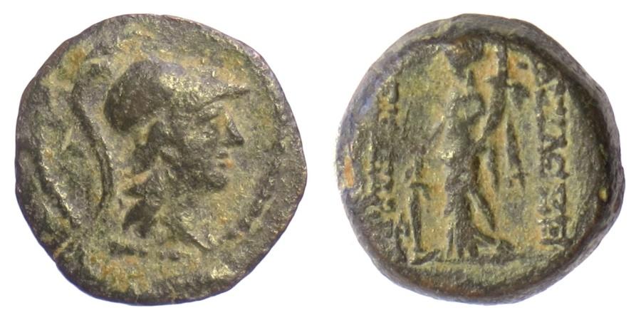 Ancient Coins - SELEUKID KINGS of SYRIA, Alexander II Zabinas. AE denomination C, 128-122 BC. Athena / Tyche