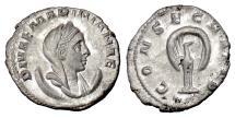 Ancient Coins - Diva Mariniana. AR antoninianus, Rome mint, struck 253-254 AD. Peacock
