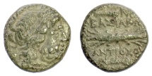 Ancient Coins - SELEUKID KINGS of SYRIA, Antiochus I Soter. AE denomination B, Antioch mint. Zeus / thunderbolt